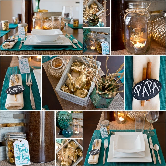 Teal And Gold Table Place Setting Ideas